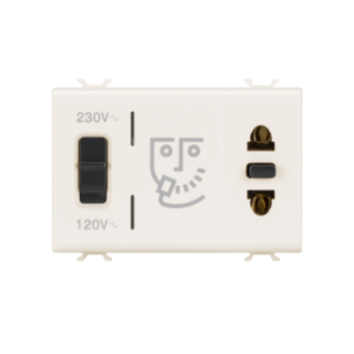 EURO-AMERICAN STANDARD SHAVER SOCKET-OUTLET WITH INSULATION TRANSFORMER - 3 MODULES - IVORY - CHORUS
