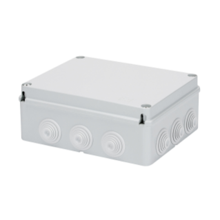 JUNCTION BOX WITH PLAIN SCREWED LID - IP55 - INTERNAL DIMENSIONS 380X300X120 - WALLS WITH CABLE GLANDS - GWT960ºC - GREY RAL 7035