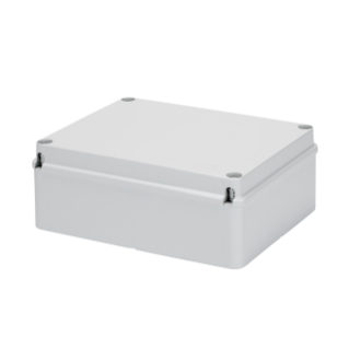 BOX FOR JUNCTIONS AND FOR ELECTRIC AND ELECTRONIC EQUIPMENT - WITH BLANK PLAIN LID - IP56 - INTERNAL DIMENSIONS 380X300X120 - WITH SMOOTH WALLS