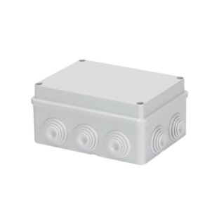 JUNCTION BOX WITH PLAIN SCREWED LID - IP55 - INTERNAL DIMENSIONS 150X110X70 - WALLS WITH CABLE GLANDS - GREY RAL 7035