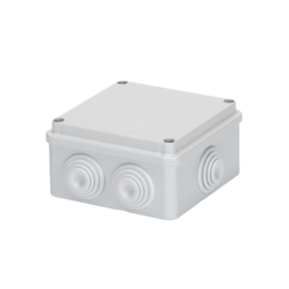 JUNCTION BOX WITH PLAIN SCREWED LID - IP55 - INTERNAL DIMENSIONS 100X100X50 - WALLS WITH CABLE GLANDS - GREY RAL 7035