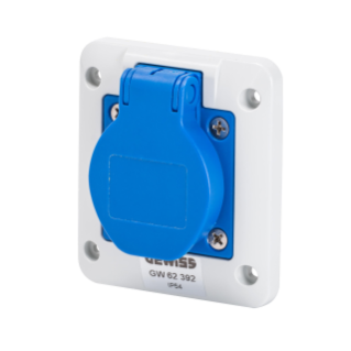 10° ANGLED FLUSH-MOUNTING SOCKET-OUTLET - 2P+E 16A 200-250V 50/60HZ - 85X75 - BLUE - SCREW WIRING