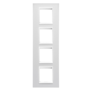 LUX INTERNATIONAL PLATE - IN TECHNOPOLYMER - 2+2+2+2 GANG VERTICAL - MILK WHITE MONOCHROME - CHORUS