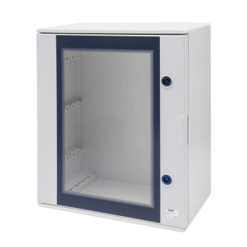 Polyester watertight boards with transparent door and lock - Grey RAL 7035