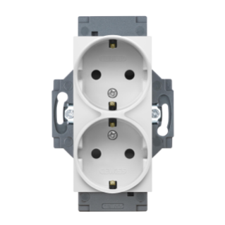 GERMAN STANDARD SOCKET-OUTLET 250V ac - SCREW TERMINALS - FRONT TIGHTENING TERMINALS - DOUBLE - 2P+E 16A - WHITE - DAHLIA