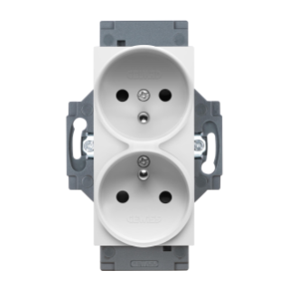 FRENCH STANDARD SOCKET-OUTLET 250V ac - SCREW TERMINALS - FRONT TIGHTENING TERMINALS - DOUBLE - 2P+E 16A - WHITE - DAHLIA