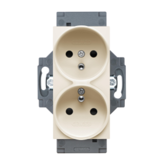 FRENCH STANDARD SOCKET-OUTLET 250V ac - SCREW TERMINALS - FRONT TIGHTENING TERMINALS - DOUBLE - 2P+E 16A - IVORY - DAHLIA