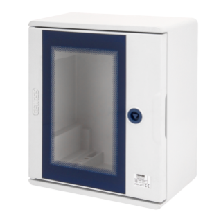 POLYESTER ENCLOSURE WITH TRANSPARENT DOOR FITTED WITH LOCK - 250X300X160 - IP66 - GRIGIO RAL 7035