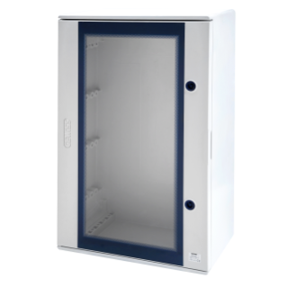 POLYESTER ENCLOSURE WITH TRANSPARENT DOOR FITTED WITH LOCK - 450X500X200 - IP66 - GRIGIO RAL 7035