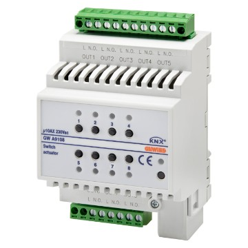 KNX 8-channel 10 AX actuator - IP20 - DIN rail mounting