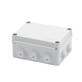 JUNCTION BOX WITH PLAIN QUICK FIXING LID - IP55 - INTERNAL DIMENSIONS 150X110X70 - WALLS WITH CABLE GLANDS - GREY RAL 7035