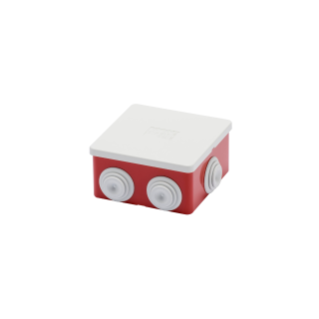 JUNCTION BOX WITH PLAIN PRESS-ON LID - IP44 - INTERNAL DIMENSIONS 80X80X40 - WALLS WITH CABLE GLANDS - GWT960ºC - GREY RAL 7035 - BOX RED RAL 3000