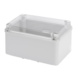 JUNCTION BOX WITH HIGH CAPACITY BOTTOM AND TRANSPARENT PLAIN SCREWED LID - IP56 - INTERNAL DIMENSIONS 300X220X170 - SMOOTH WALLS - GREY RAL 7035