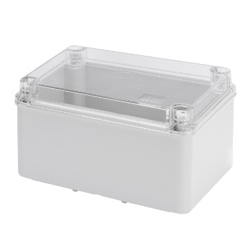 Junction boxes with high capacity bottom and transparent plain screwed lid Grey RAL 7035
