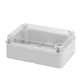 BOX FOR JUNCTIONS AND FOR ELECTRIC AND ELECTRONIC EQUIPMENT - WITH TRANSPARENT PLAIN  LID - IP56 - INTERNAL DIMENSIONS 300X220X120 - WITH SMOOTH WALLS