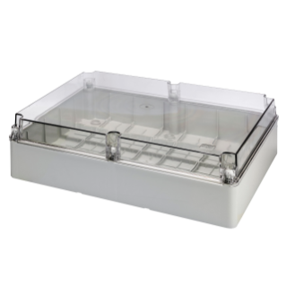 BOX FOR JUNCTIONS AND FOR ELECTRIC AND ELECTRONIC EQUIPMENT - WITH TRANSPARENT PLAIN  LID - IP56 - INTERNAL DIMENSIONS 460X380X120 - WITH SMOOTH WALLS