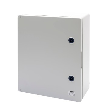 Watertight boards with blank door fitted with lock - Grey RAL 7035