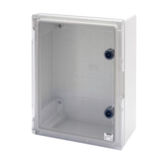 WATERTIGHT BOARD WITH TRANSPARENT DOOR FITTED WITH LOCK - GWPLAST 120 - 316X396X160 - IP55 - GREY RAL 7035