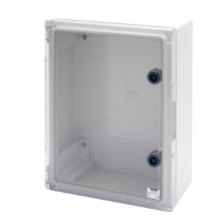 WATERTIGHT BOARD WITH TRANSPARENT DOOR FITTED WITH LOCK - GWPLAST 120 - 396X474X160 - IP55 - GREY RAL 7035