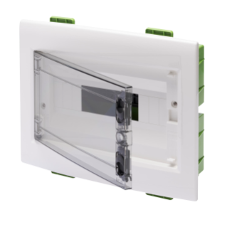DISTRIBUTION BOARD - GREEN WALL - FOR MOBILE AND PLASTERBOARD WALLS - WITH SMOKED WINDOW PANEL AND EXTRACTABLE FRAME - 12 MODULES IP40