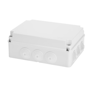 JUNCTION BOX WITH PLAIN SCREWED LID - IP55 - INTERNAL DIMENSIONS 300X220X120 - WALLS WITH CABLE GLANDS - GREY RAL 7035