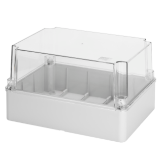 BOX FOR JUNCTIONS AND FOR ELECTRIC AND ELECTRONIC EQUIPMENT - WITH TRANSPARENT DEEP  LID - IP56 - INTERNAL DIMENSIONS 190X140X140 - WITH SMOOTH WALLS