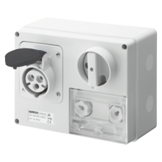 FIXED INTERLOCKED HORIZONTAL SOCKET-OUTLET - WITH BOTTOM - WITH FUSE-HOLDER BASE - 3P+E 16A 480-500V - 50/60HZ 7H CBF - IP44