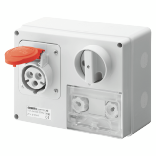 FIXED INTERLOCKED HORIZONTAL SOCKET-OUTLET - WITH BOTTOM - WITH FUSE-HOLDER BASE - 3P+E 16A 380-415V - 50/60HZ 6H CBF - IP44