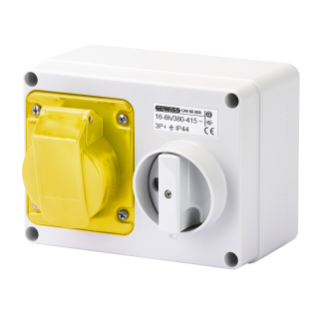 FIXED INTERLOCKED HORIZONTAL SOCKET-OUTLET - WITH BOTTOM - WITHOUT FUSE-HOLDER BASE - 3P+E 32A 100-130V - 50/60HZ 4H - IP44