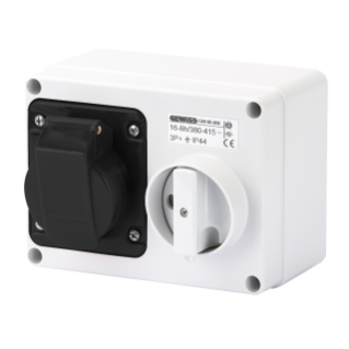 FIXED INTERLOCKED HORIZONTAL SOCKET-OUTLET - WITH BOTTOM - WITHOUT FUSE-HOLDER BASE - 3P+N+E 16A 480-500V - 50/60HZ 7H - IP44