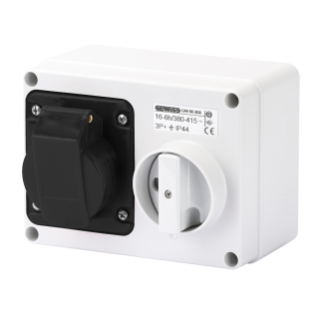 FIXED INTERLOCKED HORIZONTAL SOCKET-OUTLET - WITH BOTTOM - WITHOUT FUSE-HOLDER BASE - 3P+E 16A 480-500V - 50/60HZ 7H - IP44