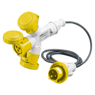 MULTIPLE SOCKET-COUPLERS 3 OUTPUTS IP67 - 2M FLEXIBLE CABLE - PLUG 16A - 2 SOCKET-OUTLETS 2P+E 110V 50/60HZ - YELLOW - 4H