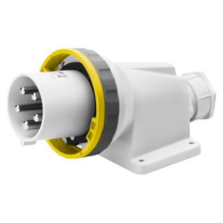 90° ANGLED SURFACE MOUNTING INLET - IP67 - 3P+E 63A 100-130V 50/60HZ - YELLOW - 4H - MANTLE TERMINAL