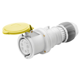 STRAIGHT CONNECTOR HP - IP44/IP54 - 3P+E 63A 100-130V 50/60HZ - YELLOW - 4H - MANTLE TERMINAL