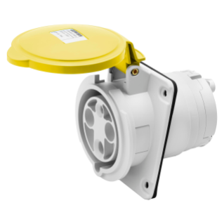 10° ANGLED FLUSH-MOUNTING SOCKET-OUTLET HP - IP44/IP54 - 3P+N+E 63A 100-130V 50/60HZ - YELLOW - 4H - MANTLE TERMINAL