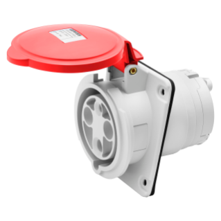 10° ANGLED FLUSH-MOUNTING SOCKET-OUTLET HP - IP44/IP54 - 3P+E 63A 380-415V 50/60HZ - RED - 6H - MANTLE TERMINAL