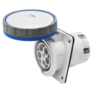 10° ANGLED FLUSH-MOUNTING SOCKET-OUTLET HP - IP66/IP67 - 2P+E 125A 200-250V 50/60HZ - BLUE - 6H - MANTLE TERMINAL
