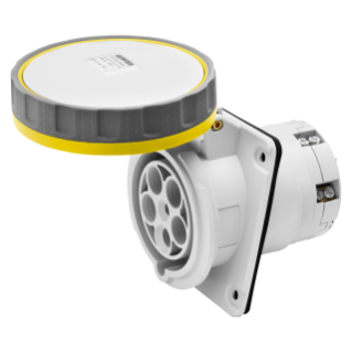 10° ANGLED FLUSH-MOUNTING SOCKET-OUTLET HP - IP66/IP67 - 3P+E 63A 100-130V 50/60HZ - YELLOW - 4H - MANTLE TERMINAL