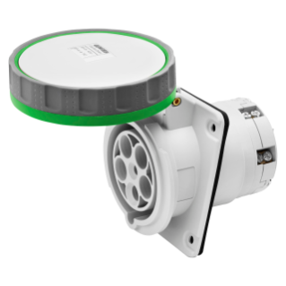 10° ANGLED FLUSH-MOUNTING SOCKET-OUTLET HP - IP66/IP67 - 3P+N+E 125A >50V >300-500HZ - GREEN - 2H - MANTLE TERMINAL