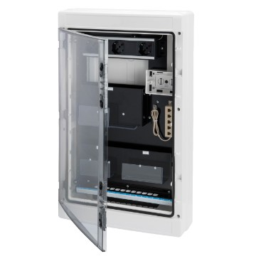 Wall mounting Home Network enclosure with transparent door for network cabling - White RAL 9016