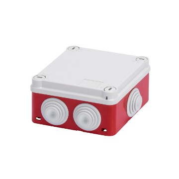 Junction boxes with plain quick fixing lid - IP55 Box base Red RAL 3000, lid and cable gland Grey RAL 7035
