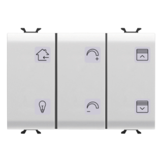 PUSH-BUTTON PANEL WITH INTERCHANGEABLE SYMBOL - EASY - 6 CHANNELS - 3 MODULES - WHITE - CHORUS