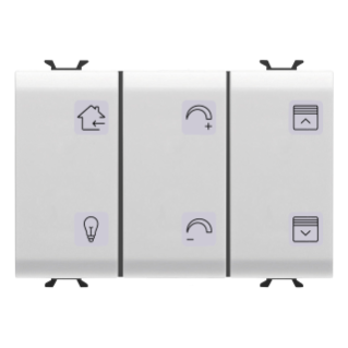 PUSH-BUTTON PANEL WITH INTERCHANGEABLE SYMBOL - WITH ROLLER SHUTTER ACTUATOR - KNX -  6+1 CHANNELS - 3 MODULES - WHITE - CHORUS