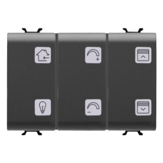 PUSH-BUTTON PANEL WITH INTERCHANGEABLE SYMBOL - WITH ACTUATOR - KNX - 6+1 CHANNELS - 3 MODULES - BLACK - CHORUS