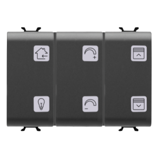 PUSH-BUTTON PANEL WITH INTERCHANGEABLE SYMBOL - WITH ROLLER SHUTTER ACTUATOR - EASY - 6+1 CHANNELS - 3 MODULES - BLACK - CHORUS
