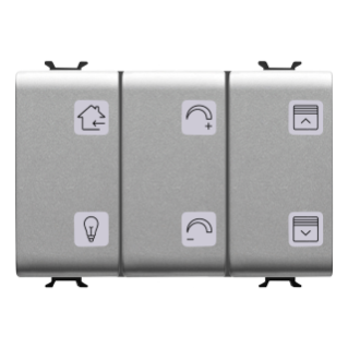 PUSH-BUTTON PANEL WITH INTERCHANGEABLE SYMBOL - WITH ROLLER SHUTTER ACTUATOR - EASY - 6+1 CHANNELS - 3 MODULES - TITANIUM - CHORUS