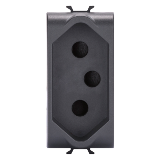 SOUTH AFRICAN STANDARD SOCKET-OUTLET - 250V ac - 2P+E 16A - 1 MODULE - BLACK - CHORUS