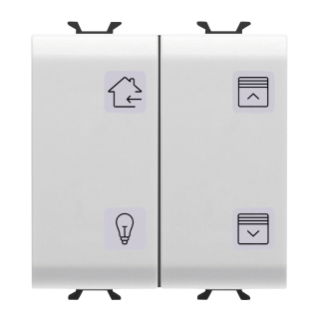 PUSH-BUTTON PANEL WITH INTERCHANGEABLE SYMBOL - KNX - 4 CHANNELS - 2 MODULES - WHITE - CHORUS