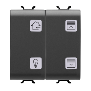 PUSH-BUTTON PANEL WITH INTERCHANGEABLE SYMBOL - KNX - 4 CHANNELS - 2 MODULES - BLACK - CHORUS