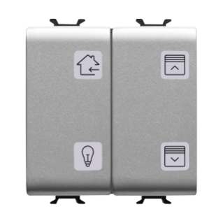 PUSH-BUTTON PANEL WITH INTERCHANGEABLE SYMBOL - EASY - 4 CHANNELS - 2 MODULES - TITANIUM - CHORUS